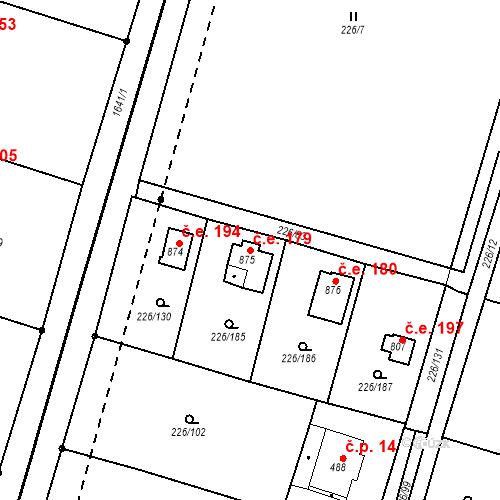 Katastrální mapa Stavební objekt Zlenice 179, Lštění