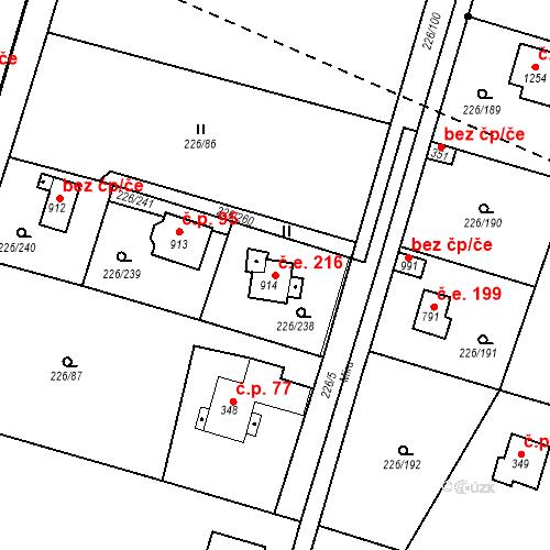 Katastrální mapa Stavební objekt Zlenice 216, Lštění