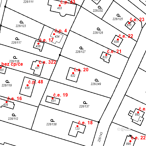 Katastrální mapa Stavební objekt Zlenice 20, Lštění