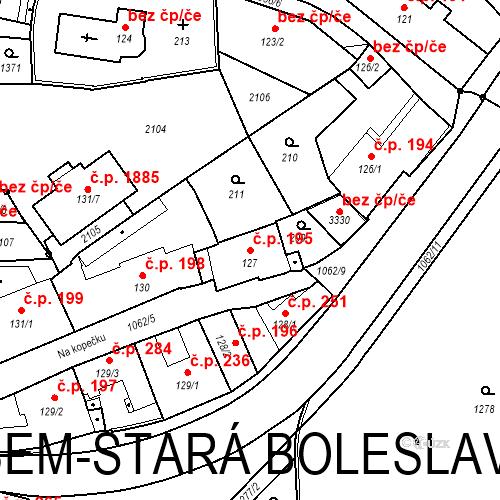 Katastrální mapa Stavební objekt Brandýs nad Labem 195, Brandýs nad Labem-Stará Boleslav