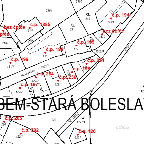 Katastrální mapa Stavební objekt Brandýs nad Labem 196, Brandýs nad Labem-Stará Boleslav