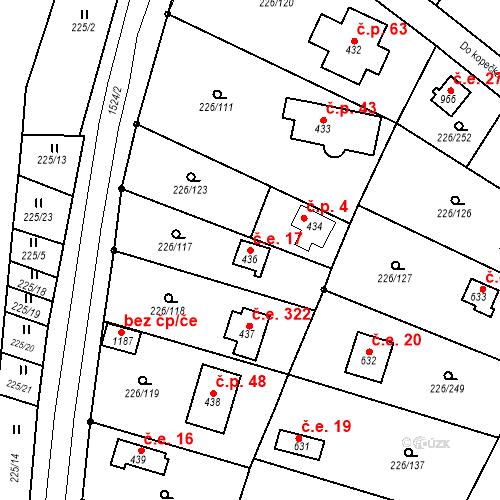 Katastrální mapa Stavební objekt Zlenice 17, Lštění