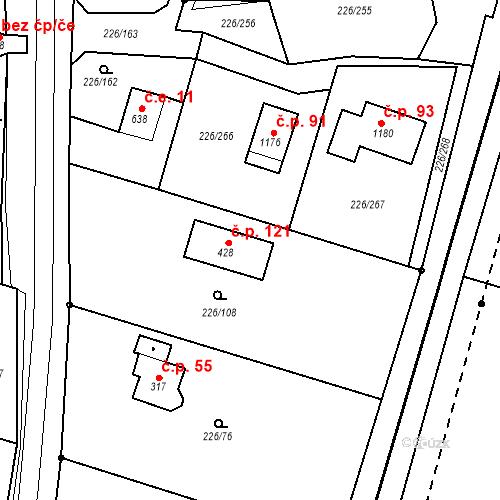 Katastrální mapa Stavební objekt Zlenice 5, Lštění