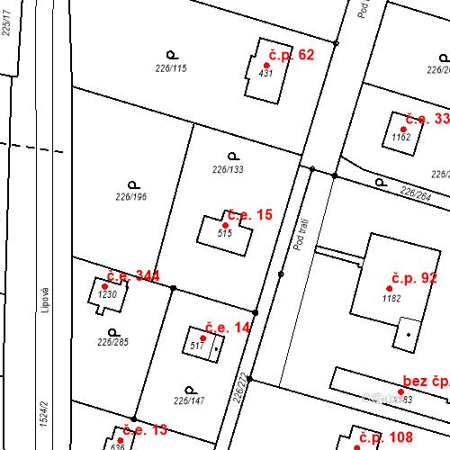 Katastrální mapa Stavební objekt Zlenice 15, Lštění