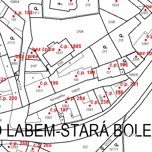 Katastrální mapa Stavební objekt Brandýs nad Labem 198, Brandýs nad Labem-Stará Boleslav