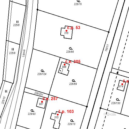 Katastrální mapa Stavební objekt Zlenice 305, Lštění