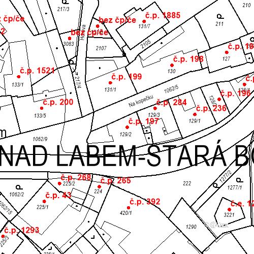 Katastrální mapa Stavební objekt Brandýs nad Labem 197, Brandýs nad Labem-Stará Boleslav