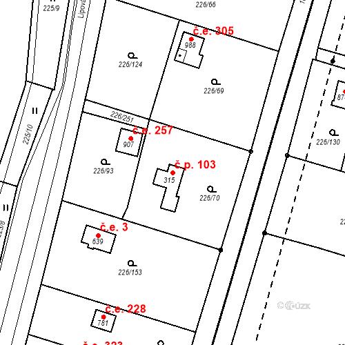 Katastrální mapa Stavební objekt Zlenice 103, Lštění