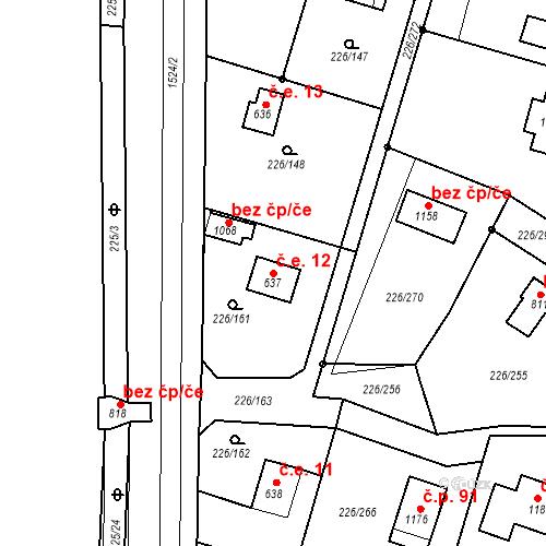 Katastrální mapa Stavební objekt Zlenice 12, Lštění