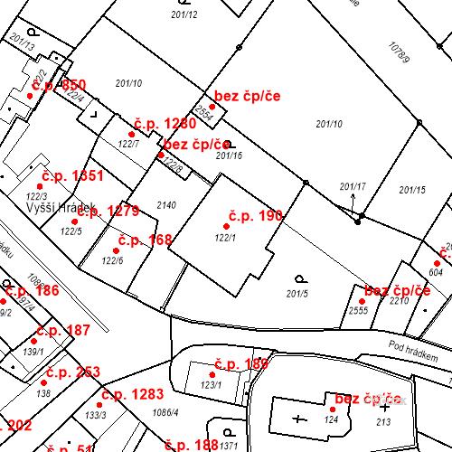Katastrální mapa Stavební objekt Brandýs nad Labem 190, Brandýs nad Labem-Stará Boleslav