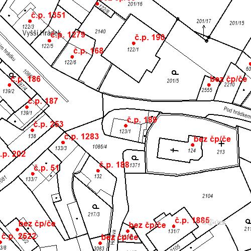 Katastrální mapa Stavební objekt Brandýs nad Labem 189, Brandýs nad Labem-Stará Boleslav