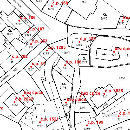 Katastrální mapa Stavební objekt Brandýs nad Labem 188, Brandýs nad Labem-Stará Boleslav