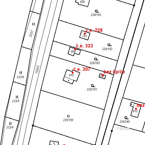 Katastrální mapa Stavební objekt Zlenice 307, Lštění