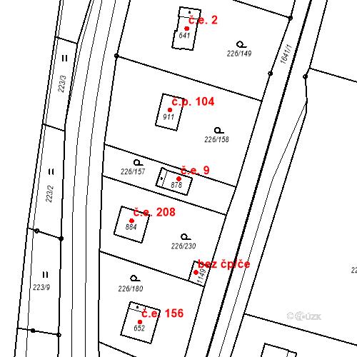Katastrální mapa Stavební objekt Zlenice 9, Lštění