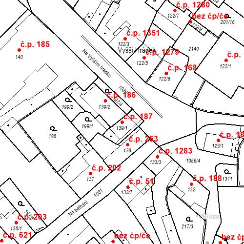 Katastrální mapa Stavební objekt Brandýs nad Labem 187, Brandýs nad Labem-Stará Boleslav