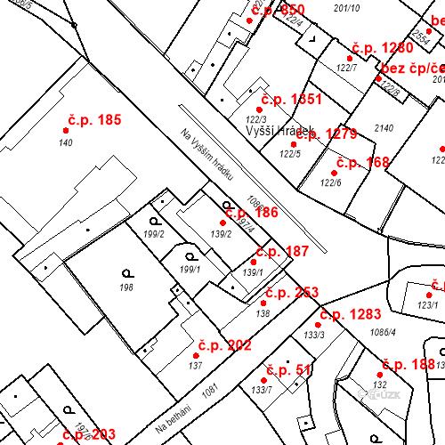 Katastrální mapa Stavební objekt Brandýs nad Labem 186, Brandýs nad Labem-Stará Boleslav