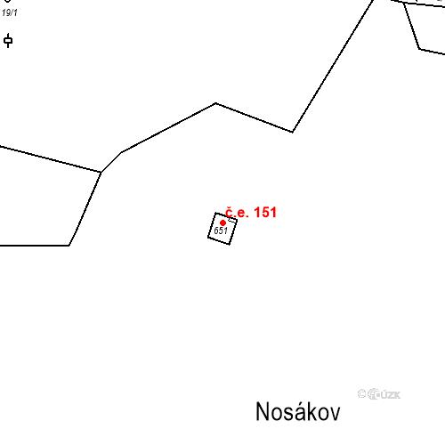Katastrální mapa Stavební objekt Zlenice 151, Lštění