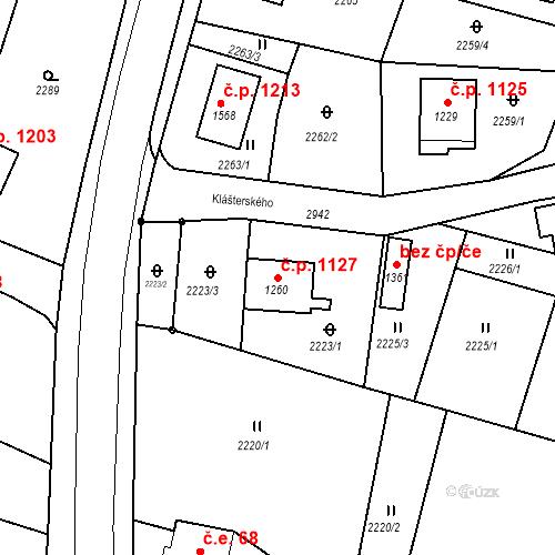 Katastrální mapa Stavební objekt Krásná Lípa 1127, Krásná Lípa