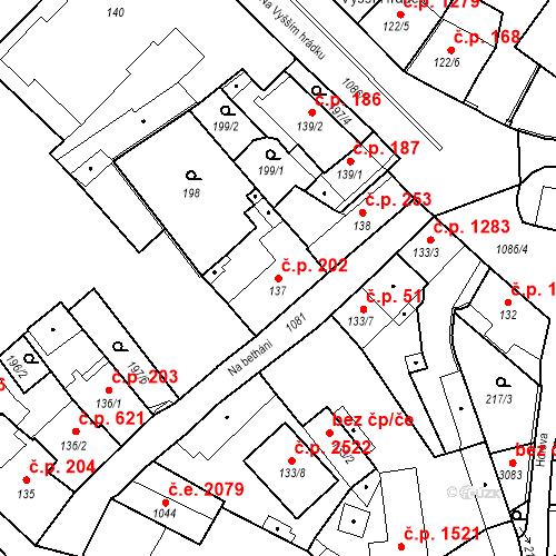 Katastrální mapa Stavební objekt Brandýs nad Labem 202, Brandýs nad Labem-Stará Boleslav