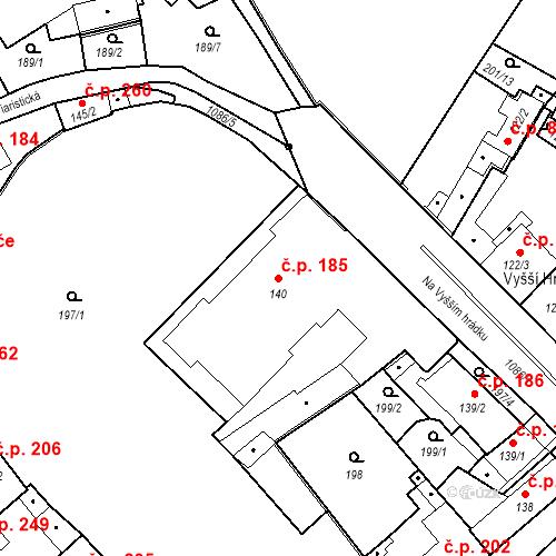 Katastrální mapa Stavební objekt Brandýs nad Labem 185, Brandýs nad Labem-Stará Boleslav