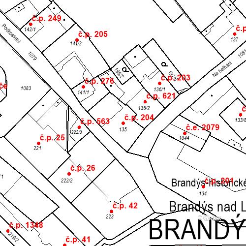 Katastrální mapa Stavební objekt Brandýs nad Labem 204, Brandýs nad Labem-Stará Boleslav
