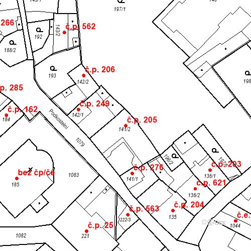 Katastrální mapa Stavební objekt Brandýs nad Labem 205, Brandýs nad Labem-Stará Boleslav