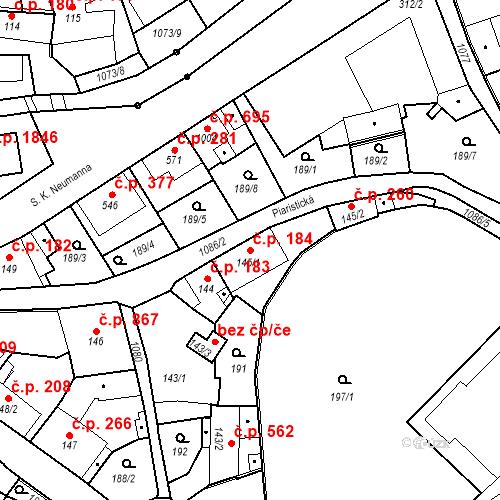 Katastrální mapa Stavební objekt Brandýs nad Labem 184, Brandýs nad Labem-Stará Boleslav