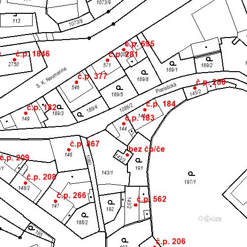 Katastrální mapa Stavební objekt Brandýs nad Labem 183, Brandýs nad Labem-Stará Boleslav