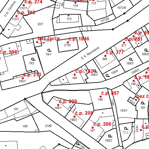 Katastrální mapa Stavební objekt Brandýs nad Labem 182, Brandýs nad Labem-Stará Boleslav