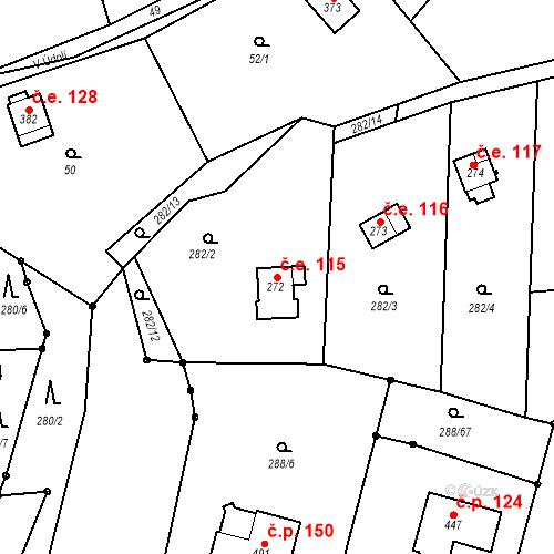 Katastrální mapa Stavební objekt Březí 115, Březí