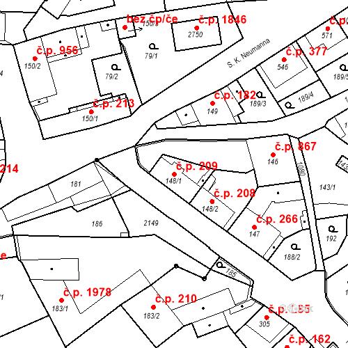 Katastrální mapa Stavební objekt Brandýs nad Labem 209, Brandýs nad Labem-Stará Boleslav