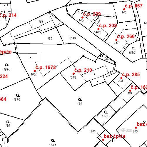 Katastrální mapa Stavební objekt Brandýs nad Labem 210, Brandýs nad Labem-Stará Boleslav