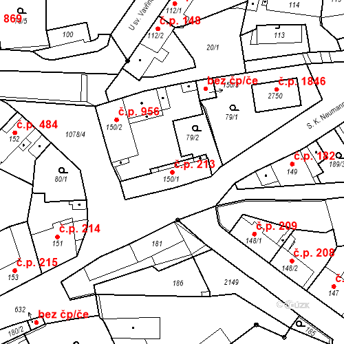 Katastrální mapa Stavební objekt Brandýs nad Labem 213, Brandýs nad Labem-Stará Boleslav