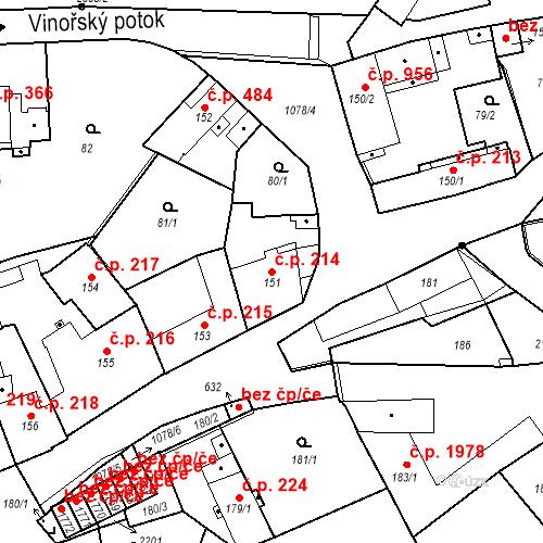 Katastrální mapa Stavební objekt Brandýs nad Labem 214, Brandýs nad Labem-Stará Boleslav