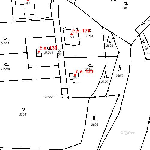 Katastrální mapa Stavební objekt Březí 121, Březí