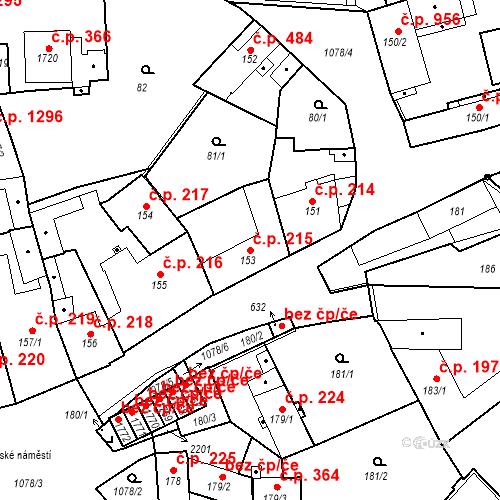 Katastrální mapa Stavební objekt Brandýs nad Labem 215, Brandýs nad Labem-Stará Boleslav