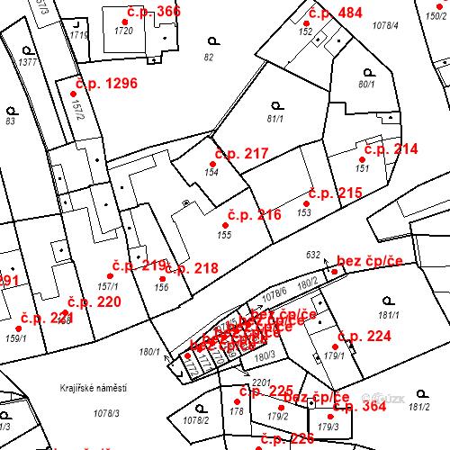 Katastrální mapa Stavební objekt Brandýs nad Labem 216, Brandýs nad Labem-Stará Boleslav