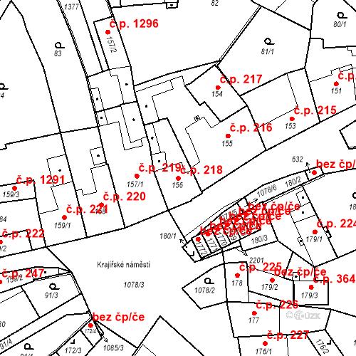 Katastrální mapa Stavební objekt Brandýs nad Labem 218, Brandýs nad Labem-Stará Boleslav