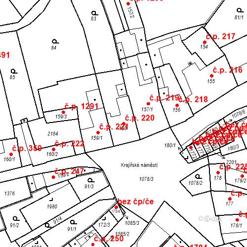 Katastrální mapa Stavební objekt Brandýs nad Labem 220, Brandýs nad Labem-Stará Boleslav