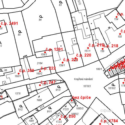 Katastrální mapa Stavební objekt Brandýs nad Labem 221, Brandýs nad Labem-Stará Boleslav
