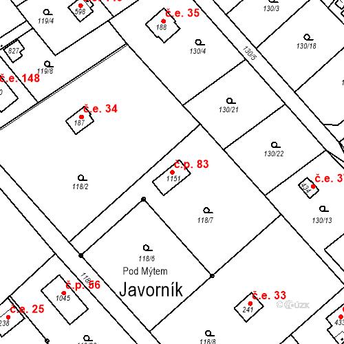 Katastrální mapa Stavební objekt Javorník 83, Čtyřkoly