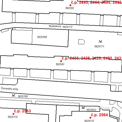 Katastrální mapa Stavební objekt Česká Lípa 2428, 2429, 2430, 2431, 2432, Česká Lípa