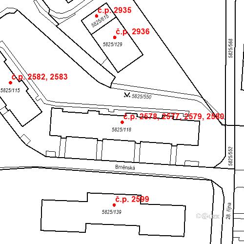 Katastrální mapa Stavební objekt Česká Lípa 2577, 2578, 2579, 2580, Česká Lípa