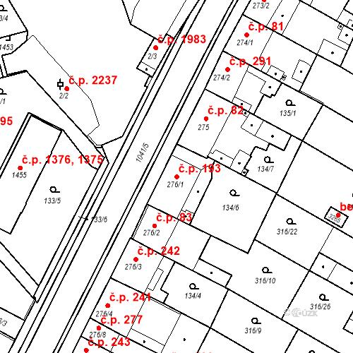 Katastrální mapa Stavební objekt Brandýs nad Labem 193, Brandýs nad Labem-Stará Boleslav