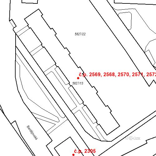 Katastrální mapa Stavební objekt Česká Lípa 2568, 2569, 2570, 2571, 2572, Česká Lípa