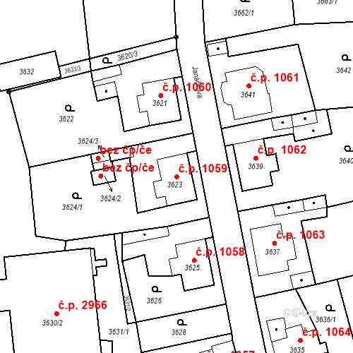 Katastrální mapa Stavební objekt Česká Lípa 1059, Česká Lípa