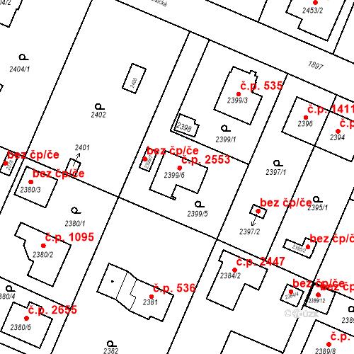 Katastrální mapa Stavební objekt Újezd nad Lesy 2553, Praha