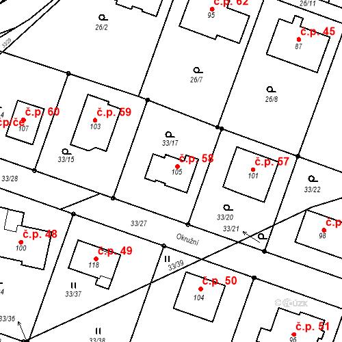Katastrální mapa Stavební objekt Záhostice 58, Chýnov