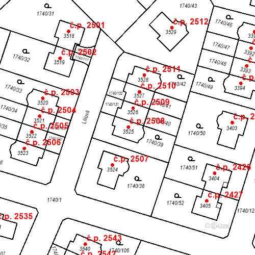 Katastrální mapa Stavební objekt Brandýs nad Labem 2508, Brandýs nad Labem-Stará Boleslav