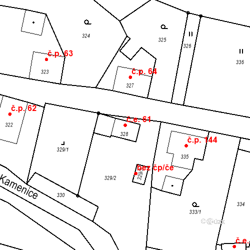 Katastrální mapa Stavební objekt Horní Chřibská 61, Chřibská